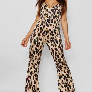 Bebe Animal Print On The Prowl Corset Jumpsuit